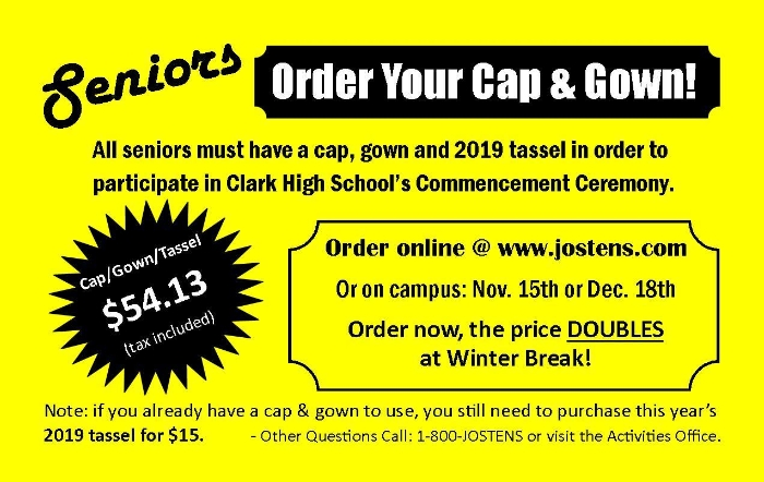 Seniors Order Your Cap & Gown - News and Announcements - Ed W. Clark ...